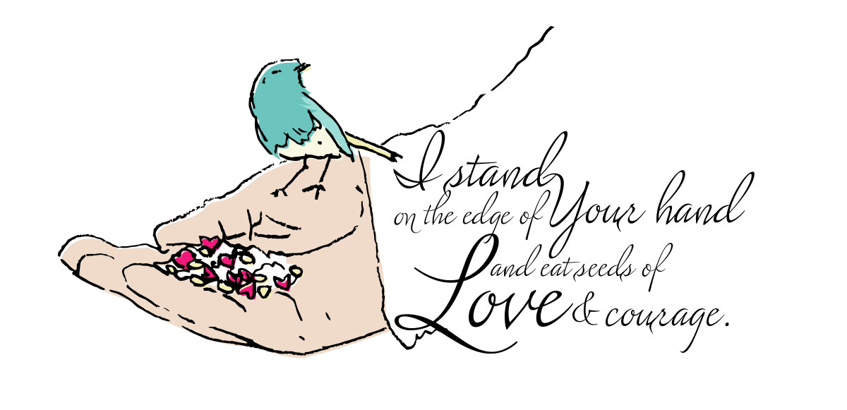 small blue bird perched on a large hand eating seeds in shape of hearts, I stand on the edge of Your hand and eat seeds of love and courage.