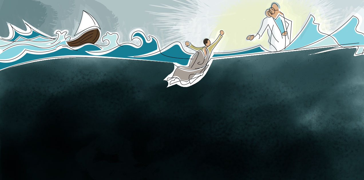 Illustration of Peter sinking in water with Jesus helping, boat in rough sea water