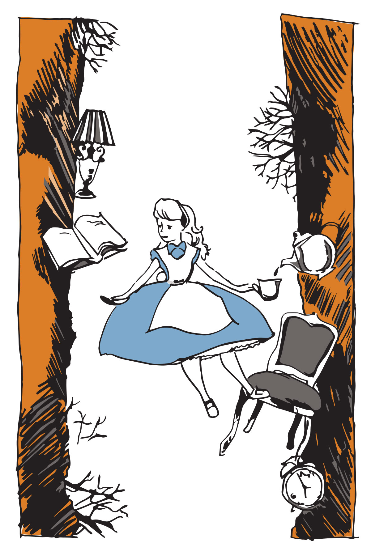 Illustration of Alice in Wonderland falling down the rabbit hole while having a cup of tea poured for her, reading a book, with chair, clock, lamp and roots in tunnel