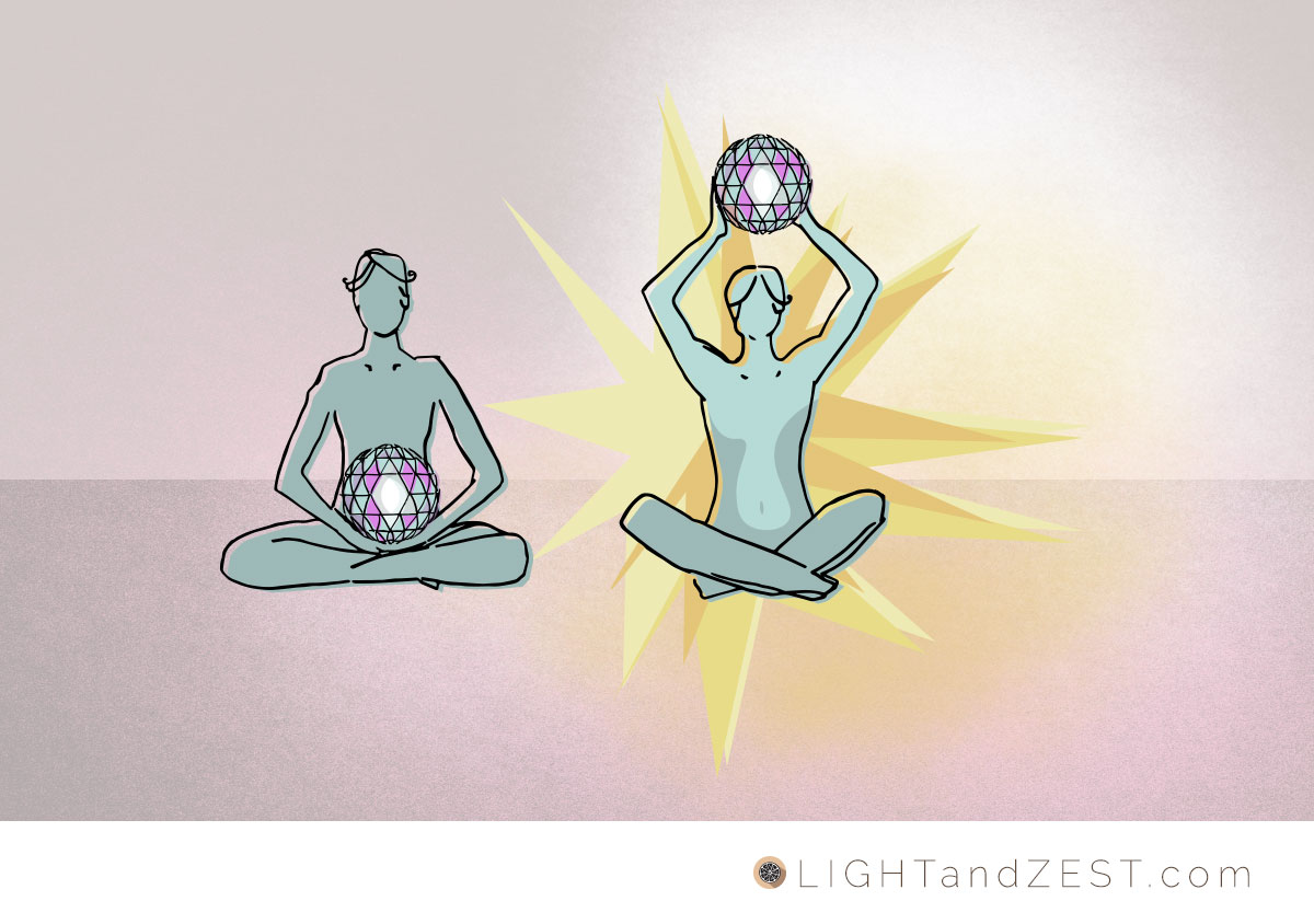 Illustration of two meditating, seated figures. They both have found the same ball of information, and one knows what do do with it. She is lit up.