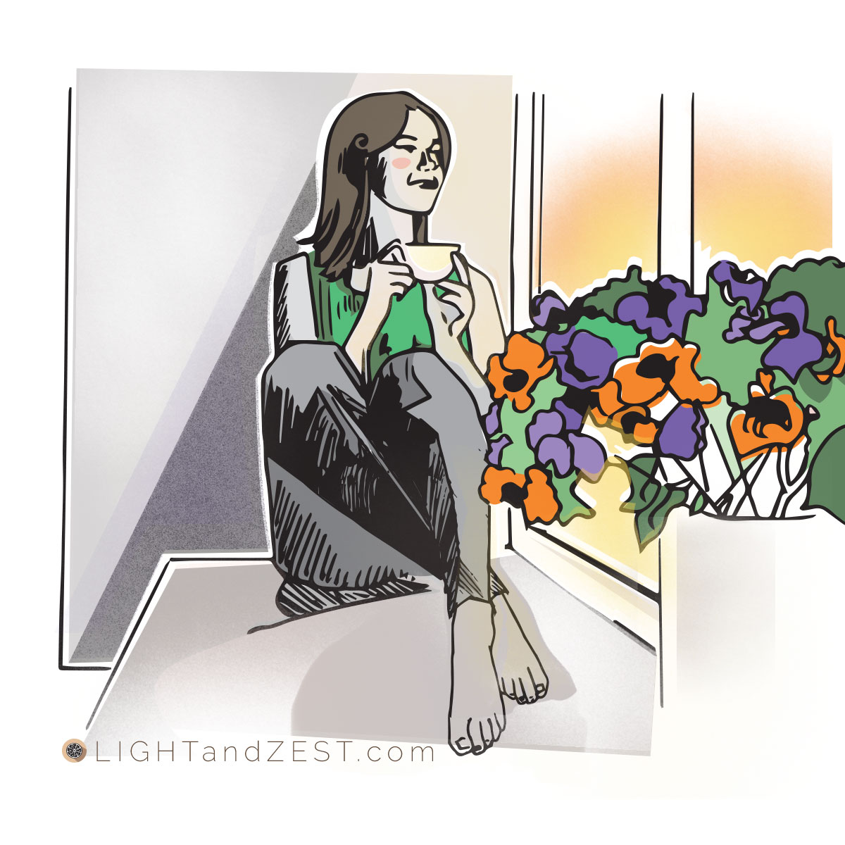 Illustration of a pleased woman sitting in a bay window, sipping from coffee cup, looking outside a window with a sunrise, flowers