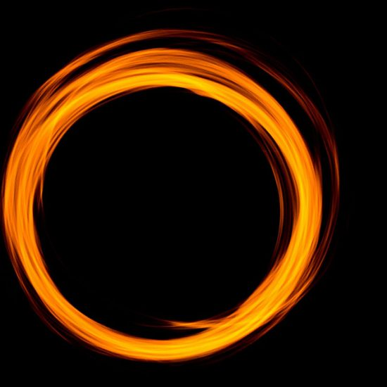 A bright firey circle illustrating anger as a controlled powerful force.