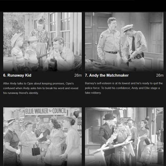 Showing small stills from the Andy Griffith Show via Netflix