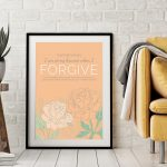 Sometimes I am at my bravest when I forgive; with Bible Reference from Matthew, large peach peonies on peach background