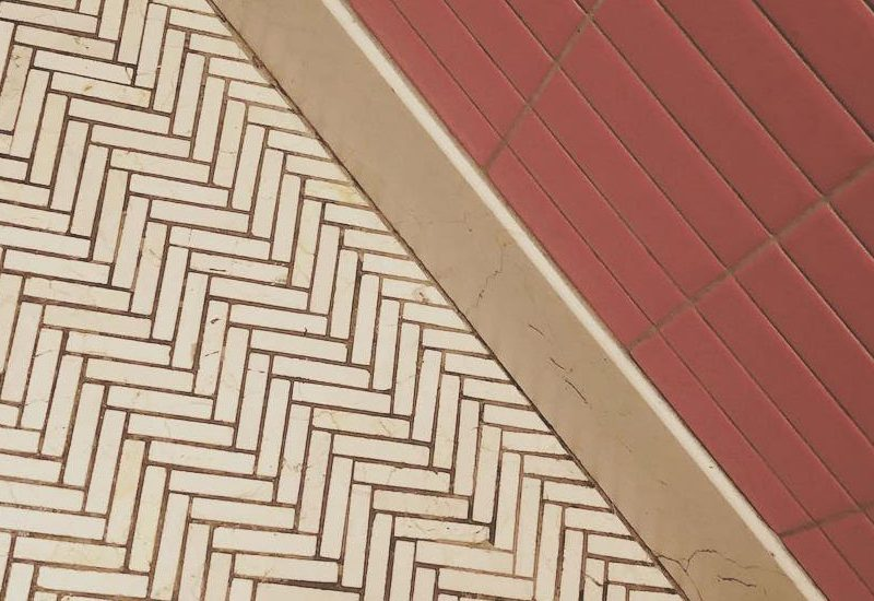 temptation, biblical, red and white bathroom tiles, abstract, geometrical art